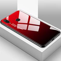 Coque Rebord Contour Silicone et Vitre Miroir Housse Etui Degrade Arc en Ciel pour Huawei Enjoy 9 Plus Rouge