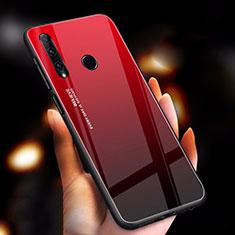 Coque Rebord Contour Silicone et Vitre Miroir Housse Etui Degrade Arc en Ciel pour Huawei Enjoy 9s Rouge