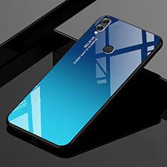 Coque Rebord Contour Silicone et Vitre Miroir Housse Etui Degrade Arc en Ciel pour Huawei Enjoy Max Bleu