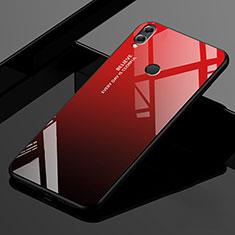 Coque Rebord Contour Silicone et Vitre Miroir Housse Etui Degrade Arc en Ciel pour Huawei Enjoy Max Rouge