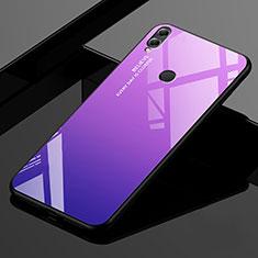 Coque Rebord Contour Silicone et Vitre Miroir Housse Etui Degrade Arc en Ciel pour Huawei Enjoy Max Violet