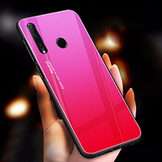 Coque Rebord Contour Silicone et Vitre Miroir Housse Etui Degrade Arc en Ciel pour Huawei Honor 20 Lite Rose Rouge