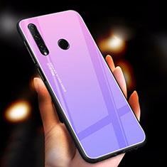 Coque Rebord Contour Silicone et Vitre Miroir Housse Etui Degrade Arc en Ciel pour Huawei Honor 20 Lite Violet