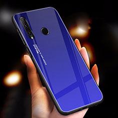 Coque Rebord Contour Silicone et Vitre Miroir Housse Etui Degrade Arc en Ciel pour Huawei Honor 20i Bleu