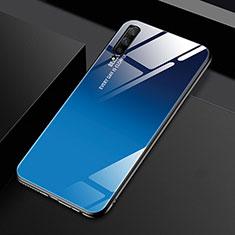 Coque Rebord Contour Silicone et Vitre Miroir Housse Etui Degrade Arc en Ciel pour Huawei Honor 9X Pro Bleu
