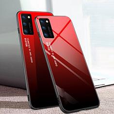 Coque Rebord Contour Silicone et Vitre Miroir Housse Etui Degrade Arc en Ciel pour Huawei Honor View 30 5G Rouge