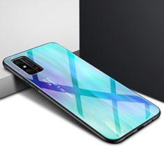 Coque Rebord Contour Silicone et Vitre Miroir Housse Etui Degrade Arc en Ciel pour Huawei Honor X10 Max 5G Cyan
