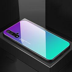 Coque Rebord Contour Silicone et Vitre Miroir Housse Etui Degrade Arc en Ciel pour Huawei Nova 5 Pro Cyan