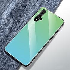 Coque Rebord Contour Silicone et Vitre Miroir Housse Etui Degrade Arc en Ciel pour Huawei Nova 5T Vert