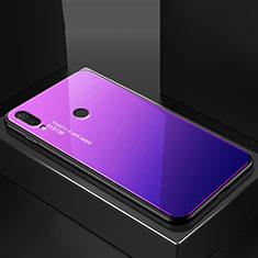 Coque Rebord Contour Silicone et Vitre Miroir Housse Etui Degrade Arc en Ciel pour Huawei P20 Lite Bleu