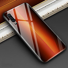 Coque Rebord Contour Silicone et Vitre Miroir Housse Etui Degrade Arc en Ciel pour Huawei P30 Orange