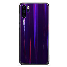 Coque Rebord Contour Silicone et Vitre Miroir Housse Etui Degrade Arc en Ciel pour Huawei P30 Pro Violet