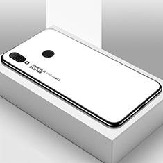 Coque Rebord Contour Silicone et Vitre Miroir Housse Etui Degrade Arc en Ciel pour Huawei Y9 (2019) Blanc