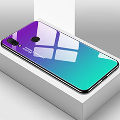 Coque Rebord Contour Silicone et Vitre Miroir Housse Etui Degrade Arc en Ciel pour Huawei Y9 (2019) Cyan