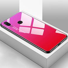 Coque Rebord Contour Silicone et Vitre Miroir Housse Etui Degrade Arc en Ciel pour Huawei Y9 (2019) Rose Rouge