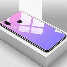 Coque Rebord Contour Silicone et Vitre Miroir Housse Etui Degrade Arc en Ciel pour Huawei Y9 (2019) Violet