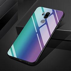 Coque Rebord Contour Silicone et Vitre Miroir Housse Etui Degrade Arc en Ciel pour LG G7 Bleu