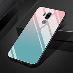 Coque Rebord Contour Silicone et Vitre Miroir Housse Etui Degrade Arc en Ciel pour LG G7 Bleu Ciel