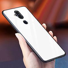Coque Rebord Contour Silicone et Vitre Miroir Housse Etui Degrade Arc en Ciel pour Nokia 7.1 Plus Blanc