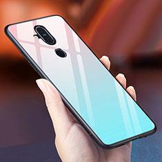 Coque Rebord Contour Silicone et Vitre Miroir Housse Etui Degrade Arc en Ciel pour Nokia 7.1 Plus Bleu Ciel