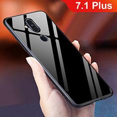 Coque Rebord Contour Silicone et Vitre Miroir Housse Etui Degrade Arc en Ciel pour Nokia 7.1 Plus Noir