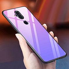Coque Rebord Contour Silicone et Vitre Miroir Housse Etui Degrade Arc en Ciel pour Nokia 7.1 Plus Violet