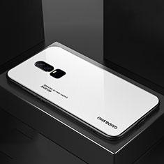 Coque Rebord Contour Silicone et Vitre Miroir Housse Etui Degrade Arc en Ciel pour OnePlus 6 Blanc