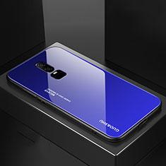 Coque Rebord Contour Silicone et Vitre Miroir Housse Etui Degrade Arc en Ciel pour OnePlus 6 Bleu