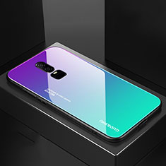 Coque Rebord Contour Silicone et Vitre Miroir Housse Etui Degrade Arc en Ciel pour OnePlus 6 Cyan