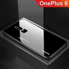 Coque Rebord Contour Silicone et Vitre Miroir Housse Etui Degrade Arc en Ciel pour OnePlus 6 Noir