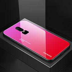 Coque Rebord Contour Silicone et Vitre Miroir Housse Etui Degrade Arc en Ciel pour OnePlus 6 Rose Rouge