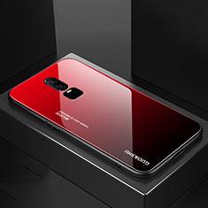 Coque Rebord Contour Silicone et Vitre Miroir Housse Etui Degrade Arc en Ciel pour OnePlus 6 Rouge