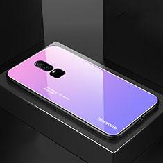 Coque Rebord Contour Silicone et Vitre Miroir Housse Etui Degrade Arc en Ciel pour OnePlus 6 Violet