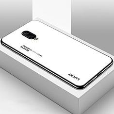 Coque Rebord Contour Silicone et Vitre Miroir Housse Etui Degrade Arc en Ciel pour OnePlus 6T Blanc