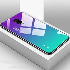 Coque Rebord Contour Silicone et Vitre Miroir Housse Etui Degrade Arc en Ciel pour OnePlus 6T Cyan
