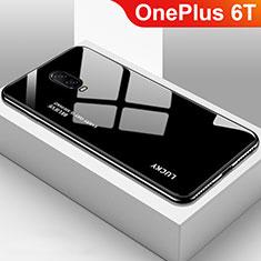 Coque Rebord Contour Silicone et Vitre Miroir Housse Etui Degrade Arc en Ciel pour OnePlus 6T Noir