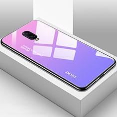 Coque Rebord Contour Silicone et Vitre Miroir Housse Etui Degrade Arc en Ciel pour OnePlus 6T Violet