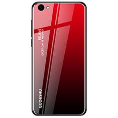 Coque Rebord Contour Silicone et Vitre Miroir Housse Etui Degrade Arc en Ciel pour Oppo A3 Rouge