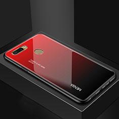 Coque Rebord Contour Silicone et Vitre Miroir Housse Etui Degrade Arc en Ciel pour Oppo A7 Rouge