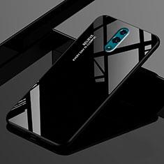 Coque Rebord Contour Silicone et Vitre Miroir Housse Etui Degrade Arc en Ciel pour Oppo Realme X Noir