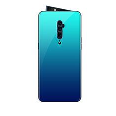 Coque Rebord Contour Silicone et Vitre Miroir Housse Etui Degrade Arc en Ciel pour Oppo Reno 10X Zoom Bleu Ciel
