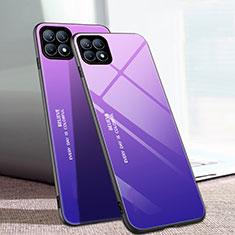 Coque Rebord Contour Silicone et Vitre Miroir Housse Etui Degrade Arc en Ciel pour Oppo Reno4 SE 5G Violet