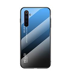 Coque Rebord Contour Silicone et Vitre Miroir Housse Etui Degrade Arc en Ciel pour Realme 6 Bleu