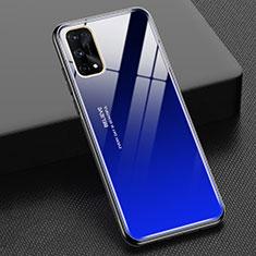 Coque Rebord Contour Silicone et Vitre Miroir Housse Etui Degrade Arc en Ciel pour Realme Q2 Pro 5G Bleu