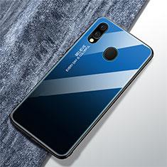 Coque Rebord Contour Silicone et Vitre Miroir Housse Etui Degrade Arc en Ciel pour Samsung Galaxy A40 Bleu