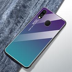 Coque Rebord Contour Silicone et Vitre Miroir Housse Etui Degrade Arc en Ciel pour Samsung Galaxy A40 Bleu Ciel