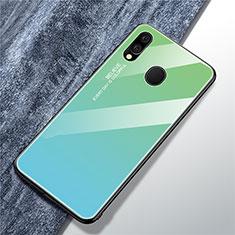 Coque Rebord Contour Silicone et Vitre Miroir Housse Etui Degrade Arc en Ciel pour Samsung Galaxy A40 Cyan