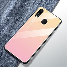 Coque Rebord Contour Silicone et Vitre Miroir Housse Etui Degrade Arc en Ciel pour Samsung Galaxy A40 Rose