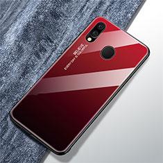 Coque Rebord Contour Silicone et Vitre Miroir Housse Etui Degrade Arc en Ciel pour Samsung Galaxy A40 Rouge