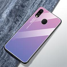Coque Rebord Contour Silicone et Vitre Miroir Housse Etui Degrade Arc en Ciel pour Samsung Galaxy A40 Violet